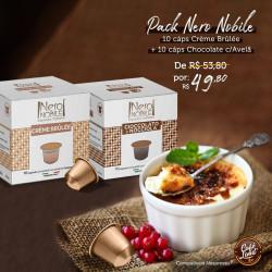 Pack Nero Nobile: 10 Cáps Chocolate c/Avelã + 10 Cáps Crème Brûlée