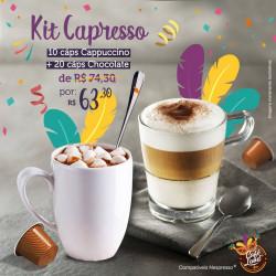 Kit Delícias Capresso: 20 Cáps Cappuccino e 10 Cáps Chocolate Compatível Nespresso