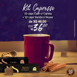 Combo 20 Cáps de Cafés Gourmet c/sabores Capresso: 10 Cáps. Café Vanilla e Nozes Capresso + 10 Cáps de Café c/Canela
