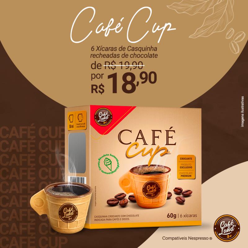 Xícara de Casquinha revestida com chocolate - 50 ml caixa com 6 unidades  - 1