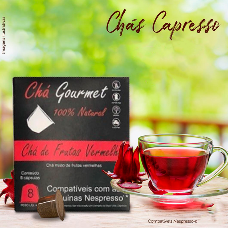 Chá Frutas Vermelhas Capresso (cx. com 8 cápsulas) compatível Nespresso® Capresso  - 1
