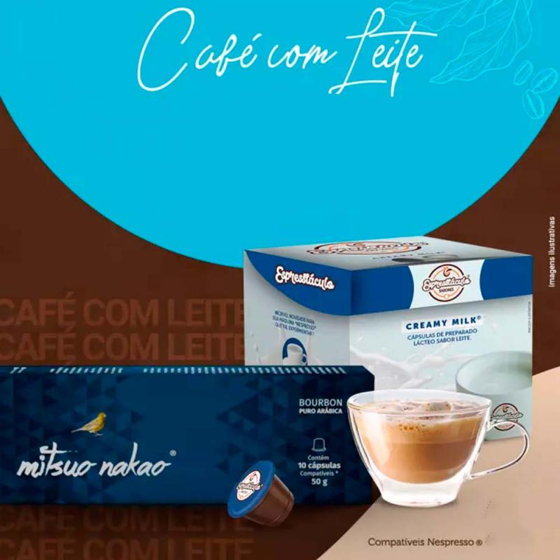 Combo Café Latte Bourbon: 10 Cáps Café Mitsuo Nakao Bourbon Intenso + 10 Cáps Leite Cremoso Mitsuo Nakao - 1