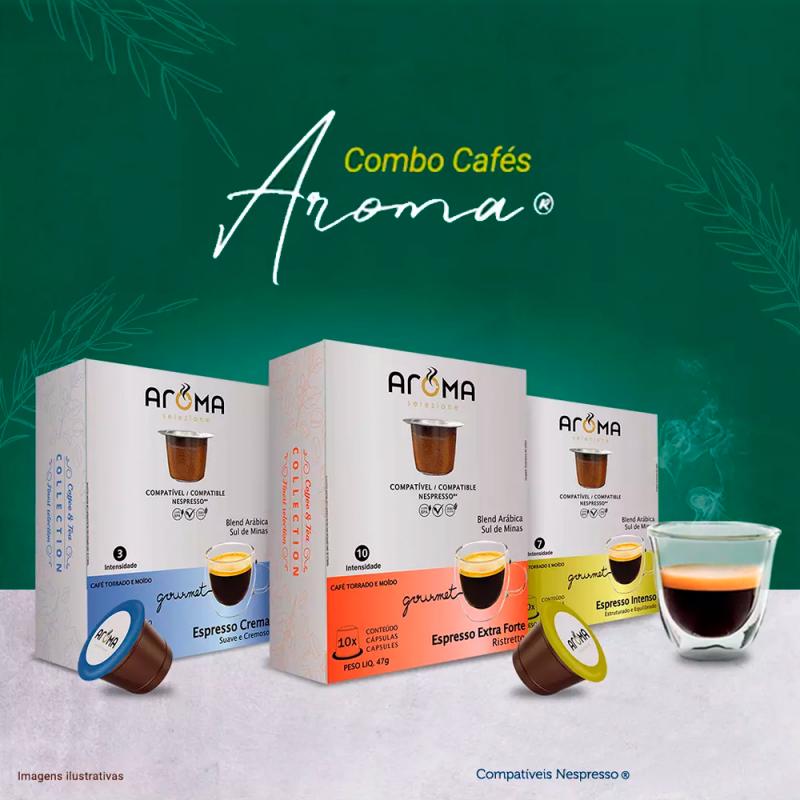 Combo 30 Cáps Cafés Gourmet Aroma: Crema + Intenso + ExtraForte compatíveis Nespresso® Aroma Selezione - 1